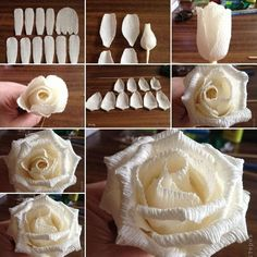 Image via: stranamasterov , how to instructions To make a rose from corrugated paper first of all cut petals of white corrugated paper in different sizes as shown. After that wrap the petal cut for center around a candy with a wooden stick poked it is wrapping. Then start wrapping the petals around the center with