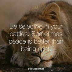 """Be selective in your battles, sometimes peace is better than being right"""