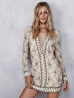 Sicily Beaded Mini | Allover embellished and embroidered shift mini dress featuring adjustable lace-up detailing on the bust.  Subtle V-neckline.  Lined.