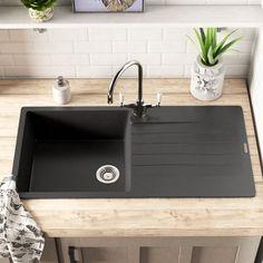 Reginox 100 cm x 50 cm Spülbecken Harlem Modern Kitchen Sinks, Timber Kitchen, Black Kitchen Cabinets, Black Kitchens, Modern Grey Kitchen, Kitchen Room Design, Modern Kitchen Design, Kitchen Interior, Black Toilet