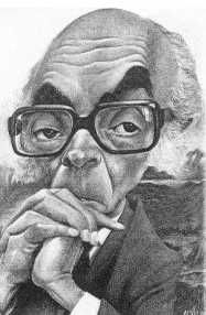 José Saramago, caricatura de António