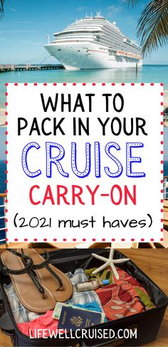 Packing a proper cruise embarkation day bag is one of the most important things you can do in preparation for a cruise. This article includes crucial tips for what to pack on your carry on bag, and what not to forget (in 2021 and beyond) Cruise Port, Cruise Travel, Cruise Vacation, Cruise Ship Reviews, Best Cruise Ships, Packing List For Cruise, Cruise Tips, Cruise Destinations, Cruise Outfits