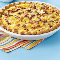 South of the Border Breakfast Pie, made with chorizo sausage, hash browns, green chiles and Deli Pepper Jack Cheese. Mmm.