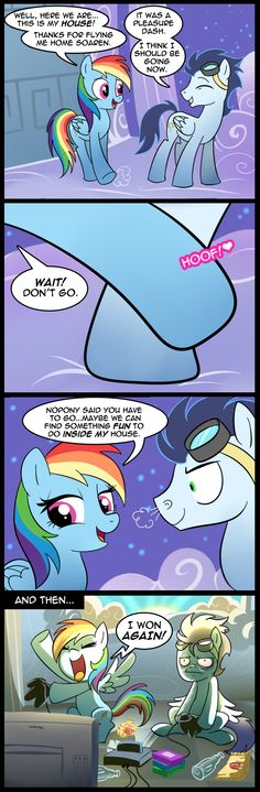 Dashie and Soarin' do something fun. Though I do love Rainbow Dash x Soarin'