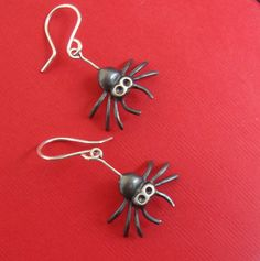 Black Spider Dangle Earrings  Jewelry goth sterling silver oxidized Teen Kids Women Creepy Cute mom for her spring