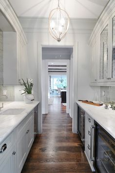 Insidesign - kitchens - Currey & Co. Bella Luna Chandelier, galley butlers pantry, walk-through butlers pantry, gray cabinets, gray cabinetr...