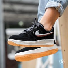 "ccf61b82104 Sneaker District on Instagram  ""Nike Women s Air Force 1  07 LX Black Gum  Yellow-Summit White available online now."""