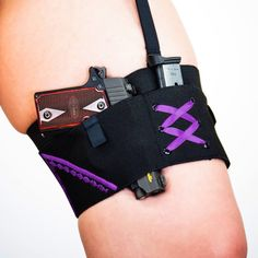This micro garter, with purple accents, holsters a Sig Sauer P238. Similar guns like a Glock 42, LCP, JA22 or Taurus Pt-22 will safely fit! Happy Micro Monday !