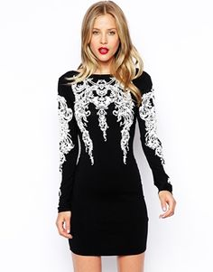 ASOS Tattoo Sleeve Embellished Bodycon Dress