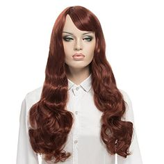 YOPO Wig Long Curly Reddish Brown Wigs for Women with Free Wig Cap  Bobby Pins 30 Cosplay Wig with Side Parting BangsReddish Brown ** Check out this great product by click affiliate link Amazon.com