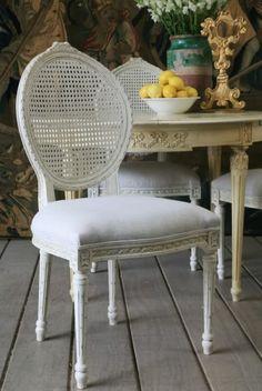 Eloquence Louis Cane Chair Antique White