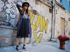 Vivaladiva Gauze Skirt, Vivaladiva Grey Sweater, Vivaladiva Long Checked Shirt, H&M Black Hat, Converse Sneakers
