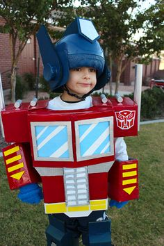 diy optimus prime costume from scrap cardboard and craft supplies