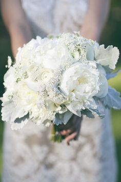 fluffy white peony bouquet