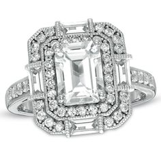 Rectangular White Topaz and Lab-Created White Sapphire Frame Ring in Sterling Silver - Size 7 - Zales