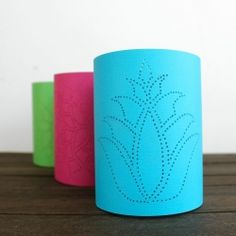Make fun paper lanterns with just cardstock, a thumbtack, and double sided tape.