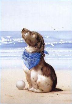 dog with scarf - Makoto Muramatsu
