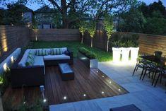 Backyard Ideas For Small Yards, Modern Backyard, Modern Landscaping, Outdoor Landscaping, Outdoor Gardens, Modern Deck, Backyard House, Landscaping Design, Solar Patio Lights