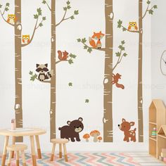 Birch Trees with Cute Forest Animals Wall Decal (Diy Wall Decals)