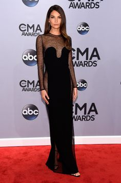 Lily Aldridge's Sexy Sheer Dress Shows Off Her Assets at CMA Awards Photo Lily Aldridge rocks a sexy and sheer dress while attending the 2014 CMA Awards held at the Bridgestone Arena on Wednesday (November in Nashville, Tenn. Lily Aldridge, Celebrity Red Carpet, Celebrity Dresses, Celebrity Style, Cma Awards, Calvin Klein Collection, Sheer Dress, Red Carpet Looks, Red Carpet Fashion