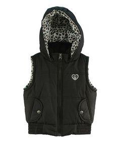 Pink Platinum Black Leopard Hooded Puffer Vest - Toddler & Girls by Pink Platinum #zulily #zulilyfinds