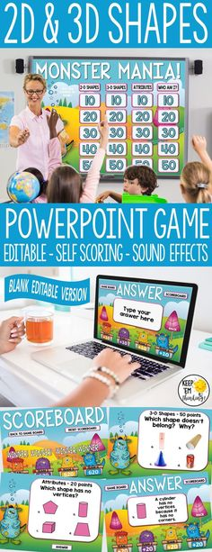 Played like Jeopardy, This 2D and 3D Shapes game show is a perfect review for students in second and third grade. It has a self scoring scoreboard, and great sound effects! The best thing is that there is an editable version of the game included, so it can be used for any subject - Just write your own questions and answers! (first grade, second grade, third grade, fourth grade). #shapesgame, #shapes activities