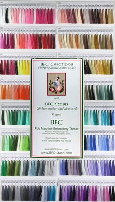 The ONLY thread I use, it is Excellent & if you've been wondering, here's a perfect chance to try it:  BFC is having a THREAD SALE!!! 40% off BFC Poly Thread in 1000m or 5000m cones!  You can search by Colors - like Pink, Red, etc. This sale will end January 28, 2015 at 6:00 am EST Does not apply to Thread Sets or BFC Design Thread Kits, just individual cones.