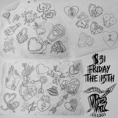 Friday the 13th is around the corner, which means @pawlski will be doing $31 Valentines Day/Friday the 13th tattoos. Here's a sneak peek of some of the designs he has drawn up ready to go. To set up an appointment, stop by the shop with $31 and you can reserve a time slot anywhere between 11am-10pm. This spots always get booked fast so don't sleep on this! #nativerituals #nativerituals101303 #fridaythe13th #fridaythe13thflash #valentinesday #valentine #fridaythe13thtattoo ...