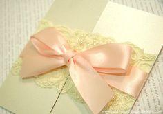 Vintage Lace & Baby Pink Bow Wedding Invitation by 'B Studio Wedding Invitations'