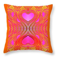 """Pair Of Hearts  Throw Pillow by Expressionistart studio Priscilla Batzell.  Our throw pillows are made from 100% spun polyester poplin fabric and add a stylish statement to any room.  Pillows are available in sizes from 14"""" x 14"""" up to 26"""" x 26"""".  Each pillow is printed on both sides (same image) and includes a concealed zipper and removable insert (if selected) for easy cleaning."""