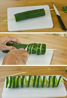 3 Super Fun and Easy Ways To Cut a Cucumber (short video … WOW! 3 Super Fun and Easy Ways To Cut a Cucumber (short video tutorial) Cute Food, Good Food, Yummy Food, Fruit And Veg, Fruits And Veggies, Vegetables, Food Design, Food Carving, Vegetable Carving