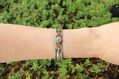 Moonstone metal stone adjustable cuff $7.95 USD  #boho #gypsy #bohojewelry #hippiejewlery #gypsyjewelry