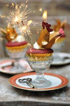 """Great theme for a """"Queen for a day"""" party for your best girlfriends. Perhaps for Valentines day, a Birthday, or just to kick start the New Year. I may do this for an upcoming tea party.  I always like for mine to have a theme. These cupcakes would be easy to make, just add the crown and the surprise sparkler."""