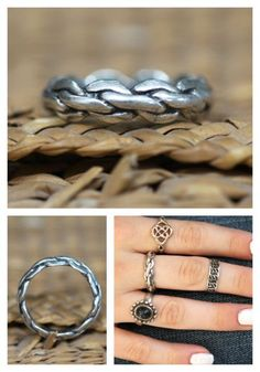 Boho Ring Sterling Silver Braided Band Midi Stacking – Yourgreatfinds