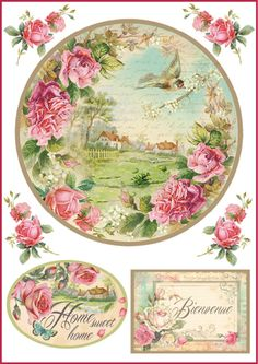 Rice Paper for Decoupage, Scrapbooking Sheet Tags Home Sweet Home Images Vintage, Vintage Tags, Vintage Labels, Vintage Pictures, Vintage Prints, Etiquette Vintage, Decoupage Printables, Decoupage Tissue Paper, Decoupage Vintage
