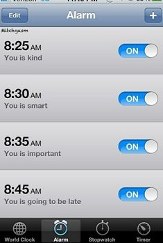 Setting multiple alarms because you'll never wake up and snooze every single one.
