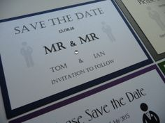 Mr & Mr Save the Date idea .. Mr & Mrs and Mrs & Mrs themes also available