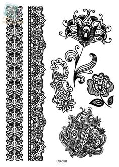LS620/Waterproof Temporary Tattoo Stickers Sexy Black Lace Body Thigh Art Man Woman Make Up Styling Tools