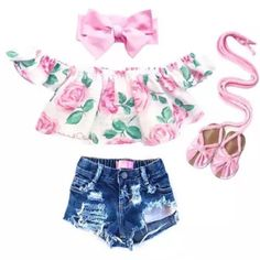 Adaptable Nwt 7 For All Mankind Overalls Denim Pink 2pc Shorts Outfit Set Toddler Girls 4t Outfits & Sets