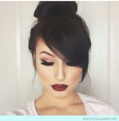 Top bun and bangs haird updo to score #hairgoals