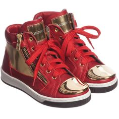Girls red leather high-top trainers by Monnalisa with cool, gold mirrored metallic leather panels and a metal cap on the toe. They are fully lined in soft leather and fasten with laces for tightening and a zip to make them easy to put on and take off.<br /> <ul> <li>Leather upper</li> <li>Rubber sole</li> <li>Side zip fastening for easy on and off</li> <li>Designer logo on the tongue</li> <li>Made in Italy</li> </ul>