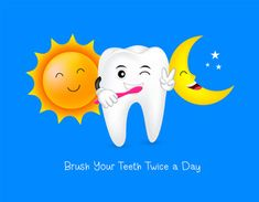 Tooth character with sun and moon. Brush your teeth twice a day, daily dental care concept. illustration isolated on blue background.