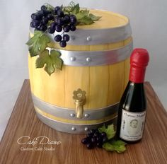 Wine Barrel Cake For A 50th Birthday Celebration At A Wine Bar Handmade Gumpaste Grape Clusters Molded Chocolate Wine Bottle With Personal