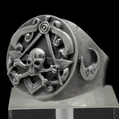 Exclusive custom design handcrafted Sterling Silver Skull Biker Rings Freemason-Masonic, Occult Religions Jewelry by Signo Art