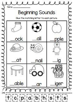 beginning sounds printable worksheet pack pre k kindergarten first grade grade 1 worksheetsworksheets - Work Pages For Kindergarten