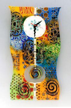fused glass art clock - Google Search