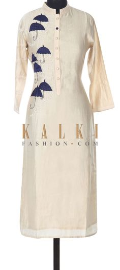 Buy this Cream kurti adorn in umbrella motif embroidery only on Kalki Kurti Patterns, Dress Patterns, Kurta Designs, Blouse Designs, Date Outfits, Fashion Outfits, Embroidery On Kurtis, Kurti Embroidery Design, Designer Kurtis Online