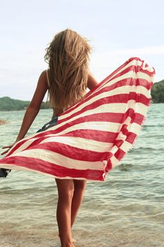 American Flag Beach Towel, Sunkissed Skin,  Highlights. #Summertime #BeachBabe