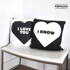 I Love You. I Know Pillow added to the shop. Star Wars love. #foxandflock