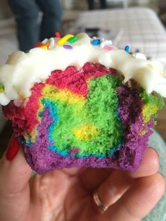 You CAN make homemade Rainbow Cupcakes with this easy recipe and tutorial! Delicious vanilla rainbow cupcakes topped with yummy Cream Cheese Frosting.